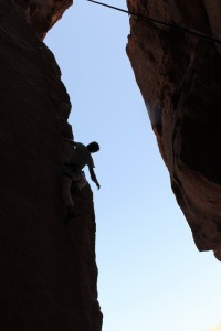 Rock climbing in Eilat by the Red Sea